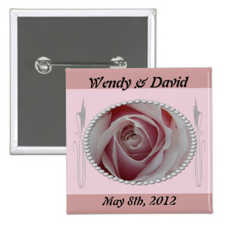 Pink Rose and Pearls Save the Date Design 15 Cm Square Badge