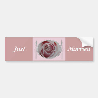 Pink Rose and Pearls Save the Date Design Bumper Sticker