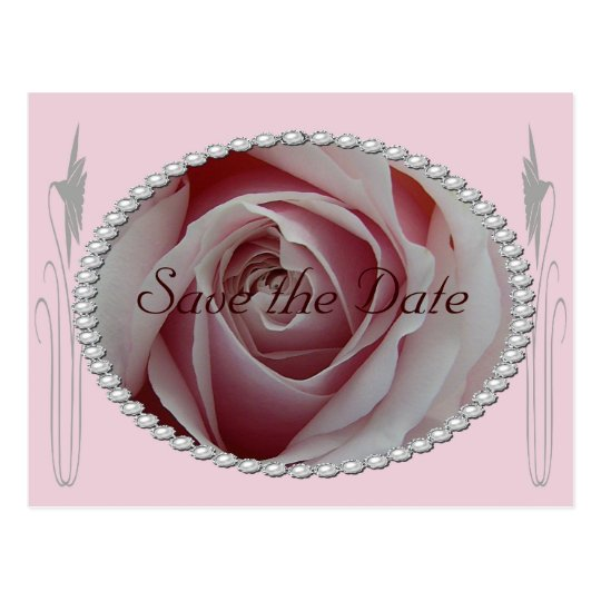 Pink Rose and Pearls Save the Date Design