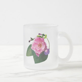 Pink Rose and Purple Morning Glories Frosted Glass Mug