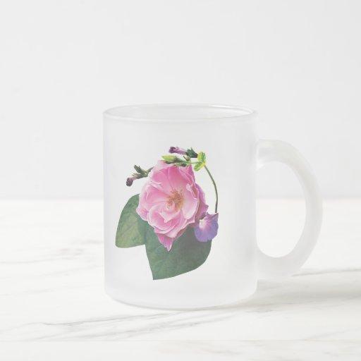 Pink Rose and Purple Morning Glories Coffee Mug