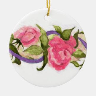 Pink Rose and Ribbon Christmas Ornament