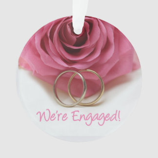pink rose and rings engagement announcement ornament