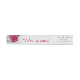 pink rose and rings engagement announcement wrap around label