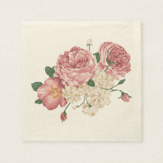 Pink Rose And White Floral Napkins Disposable Serviettes
