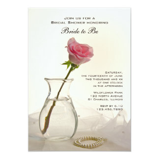 Pink Rose and White Pearls Bridal Shower Invite