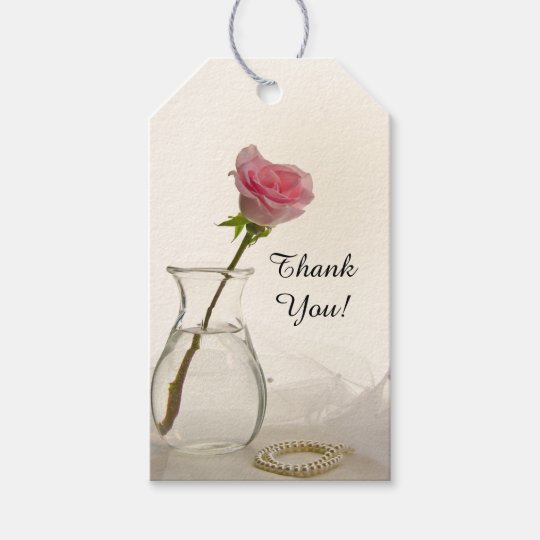 Pink Rose and White Pearls Wedding Favour Tags