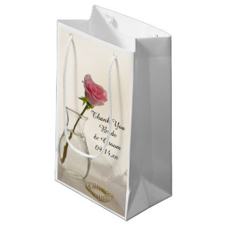Pink Rose and White Pearls Wedding Thank You Small Gift Bag