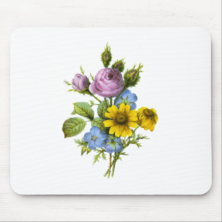 Pink Rose and Yellow Chrysanthemum Redoute Bouquet Mousepad