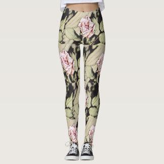 Pink Rose Art on Black/Tan background Leggings