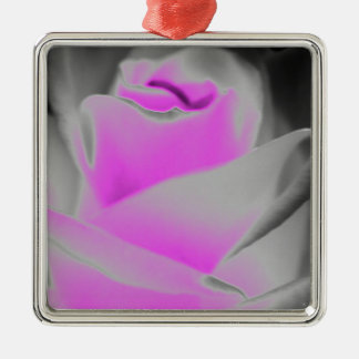 Pink Rose Art Silver-Colored Square Decoration