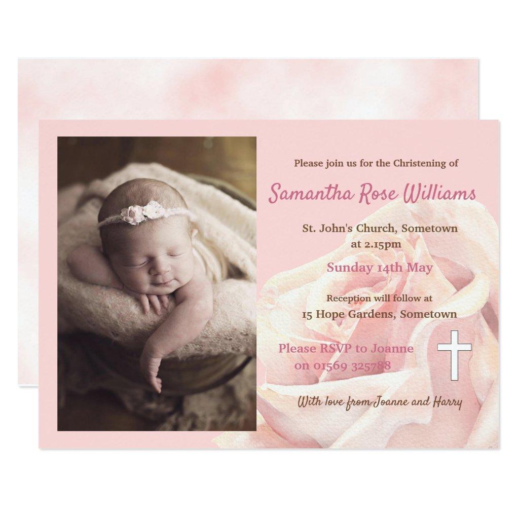Pink rose baby girl photo christening invitation