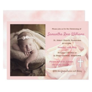 Pink rose baby girl photo christening invitation