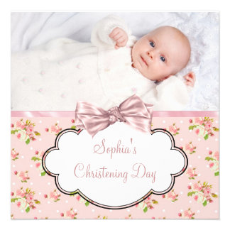 Pink Rose Baby Girl Photo Christening Personalized Invitation