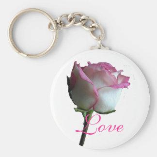 Pink Rose Basic Round Button Key Ring