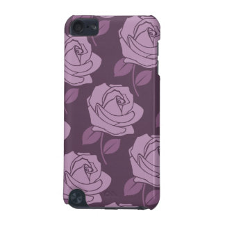 Pink Rose Big Pattern on Plum iPod Touch (5th Generation) Case