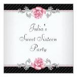 Pink Rose Black Polka Dot Sweet Sixteen Birthday Custom Invite