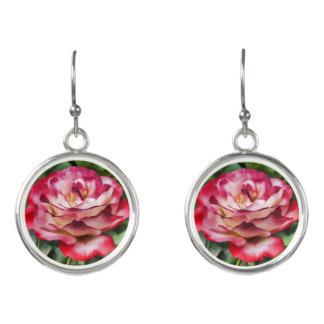 Pink Rose Blooming Earrings