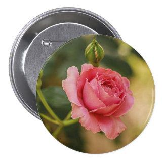Pink rose blossom 7.5 cm round badge