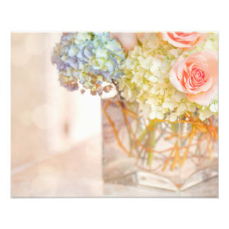Pink Rose Blue Hydrangea Vase Bouquet Roses Flower Photographic Print