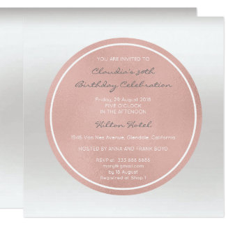 Pink Rose Blush Blush Silver Gray Ombre Round Vip Card