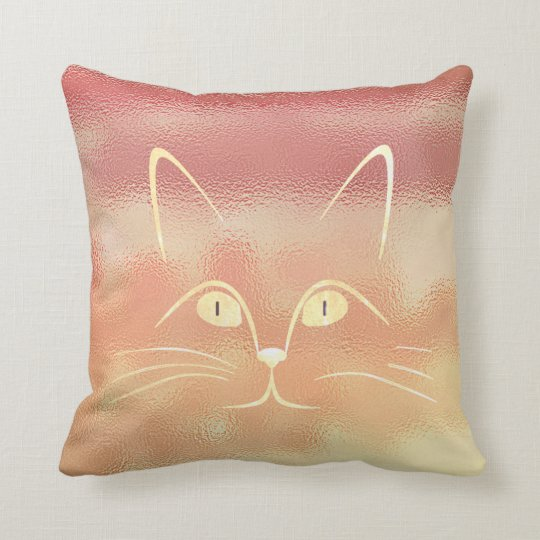 Pink Rose Blush Peach Gold Glass Cat Throw
