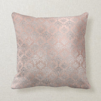 Pink Rose Blush Powder Grungy Silver Gray Damask Cushion