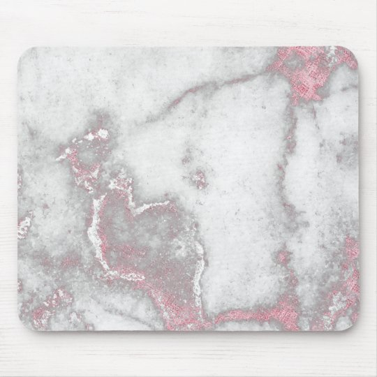 Pink Rose Blush White Gray Marble Stone Glam Mouse Mat