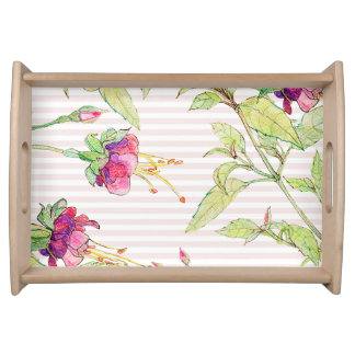 Pink Rose Boho Garden Floral Small Serving Tray
