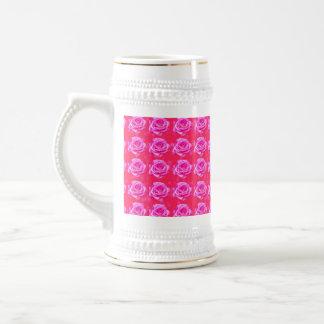 Pink_Rose_Bokeh_White_Beer_Stein_Mug Beer Stein