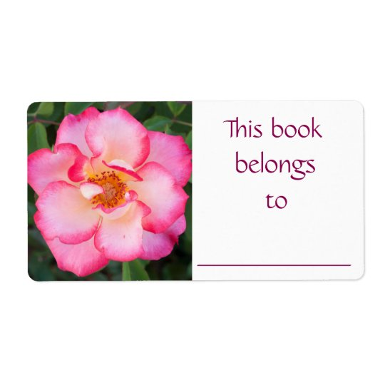 Pink Rose book label Shipping Label
