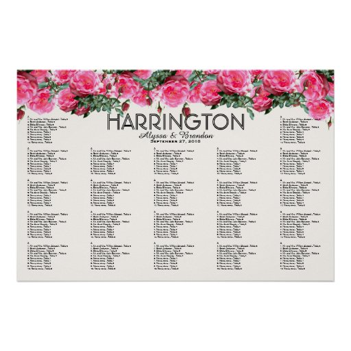Pink Rose Border Table Seating Chart Poster