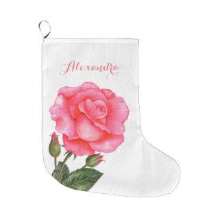 Pink Rose Botanical Illustration Large Christmas Stocking