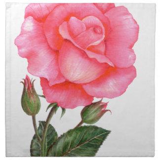 Pink Rose Botanical Illustration Napkin