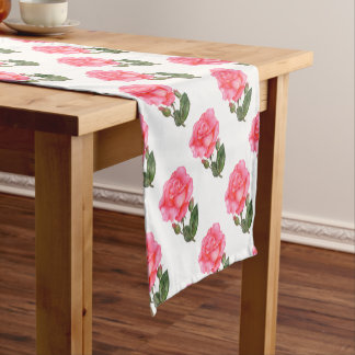 Pink Rose Botanical Illustration Short Table Runner