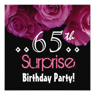 Pink Rose Bouquet 65th Surprise Birthday S001 Invitation
