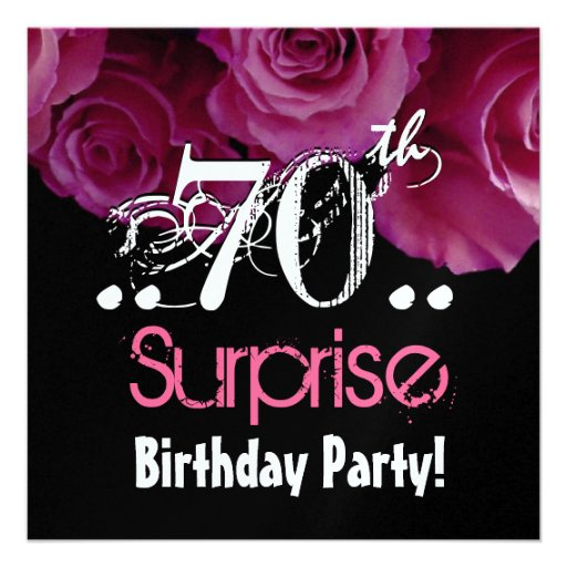 Pink Rose Bouquet 70th Surprise Birthday Metallic Personalized Invitation