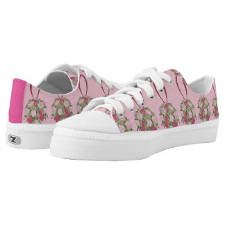 Pink Rose Bouquet Bride Bridesmaid Wedding Sneaker Printed Shoes