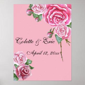 Pink Rose Bouquet Elegant  Floral Wedding Poster