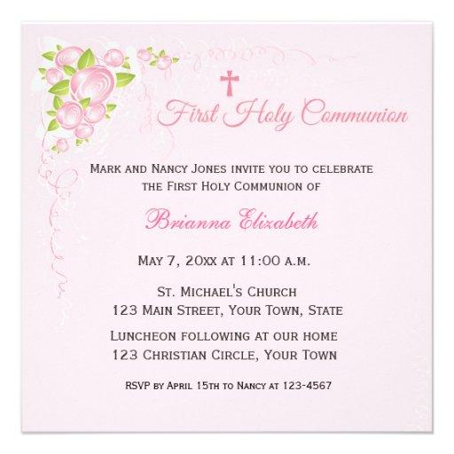 Pink Rose Bouquet First Communion Custom Invitations