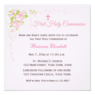 Pink Rose Bouquet First Communion 5.25x5.25 Square Paper Invitation Card