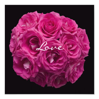 Pink Rose Bouquet on Black Vow Renewal 13 Cm X 13 Cm Square Invitation Card
