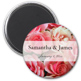 Pink Rose Bouquet Personal Wedding Magnet