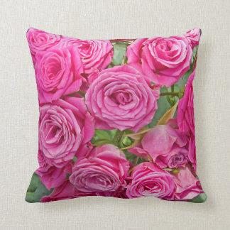 Pink Rose Bouquet Throw Pillow