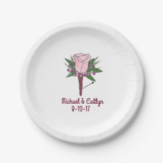 Pink Rose Boutonniere Floral Wedding Flower Plates 7 Inch Paper Plate