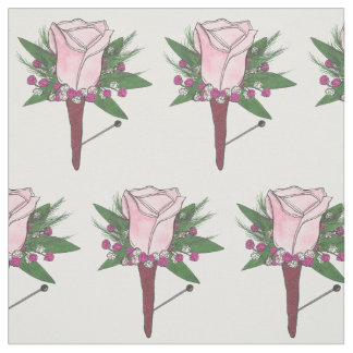Pink Rose Boutonniere Flower Groom Wedding Fabric
