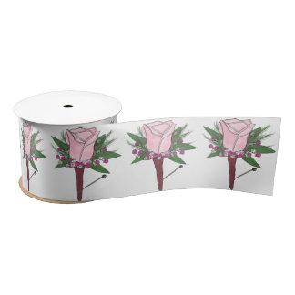 Pink Rose Boutonniere Groom Wedding Flower Ribbon Satin Ribbon