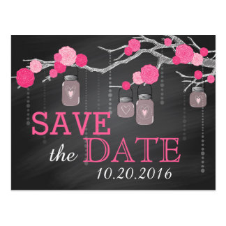 Pink Rose Branch Chalkboard Save the Date Postcard