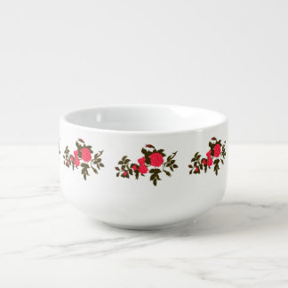 Pink Rose Branch Soup Mug