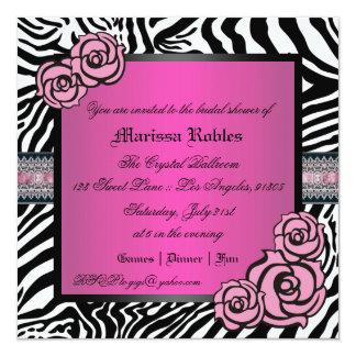 Pink Rose Bridal Shower 13 Cm X 13 Cm Square Invitation Card
